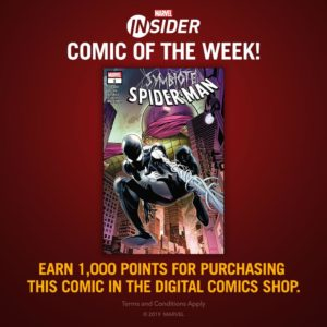 """Everyone knows Spidey's black suit would become Venom — but what happened BEFORE Peter discovered its secret? Purchase """"Symbiote Spider-Man"""" #1 issue in the Digital Comics Shop and earn 1,000 #MarvelInsider points. Terms apply. Log in to  http://bit.ly/2OyHdec to get started.pic.twitter.com/PNeiMEuE4h"""