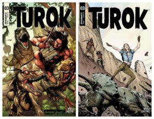 TUROK #3  Turok and Andar are on the verge of solving the secrets of the Lost Valley, if they can just avoid becoming dinner for hungry dinosaurs!   Coming to your Local Comic Shop tomorrow!  @ronmarz Roberto Castro @AialaSalvatore @troypeteri @RagsMorales Butch Guicepic.twitter.com/OHGDJupBcL