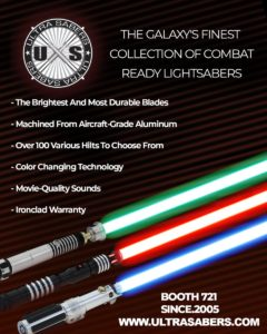 The galaxy's finest collection of combat ready lightsabers will be available at Awesome Con this weekend. Make sure to stop by the Ultra Sabers booth (721) this weekend and take one home with you!  #awesomecon #ultrasabers #lightsaber #starwarspic.twitter.com/9KFIpfc4B0